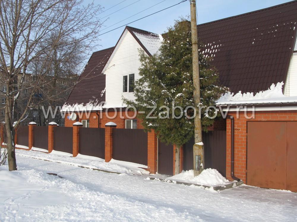 Зимний забор из профнастила цвета темный