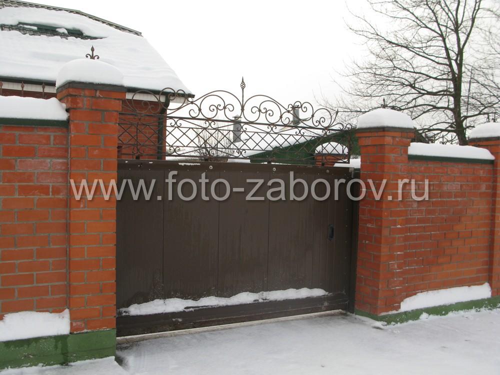 Сделанные руками мастера красивые ворота с коваными декоративными