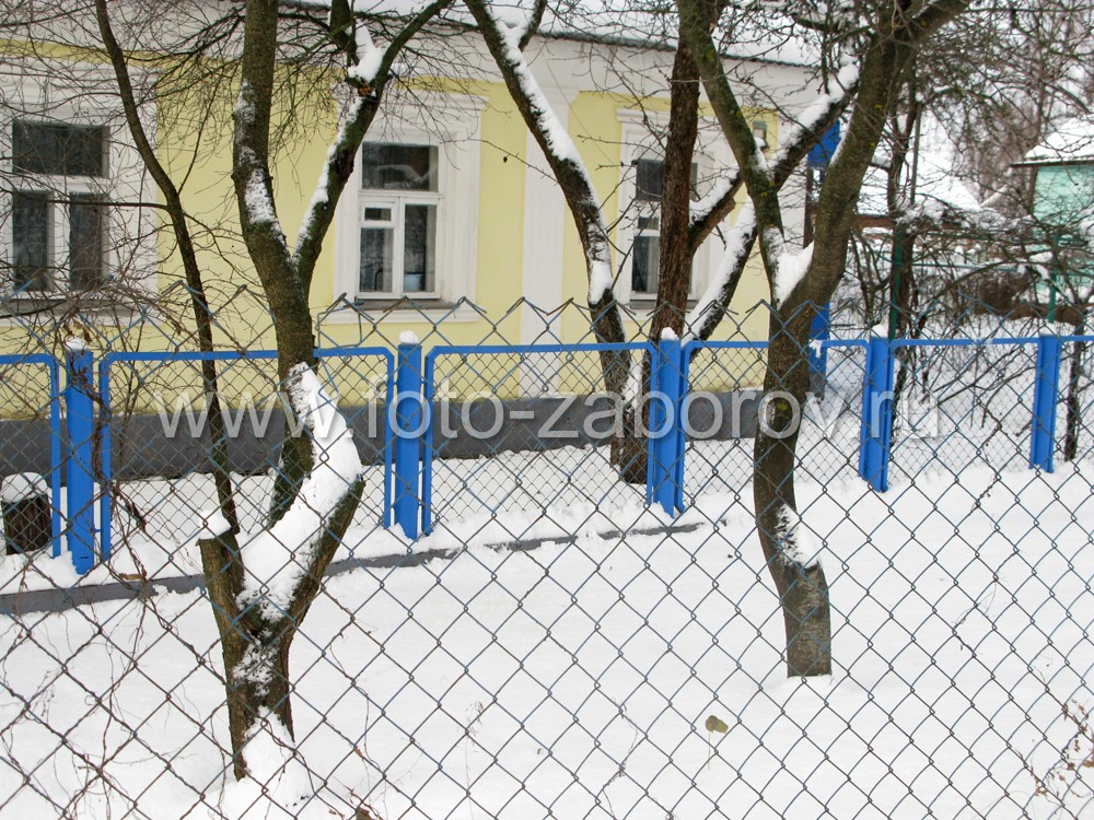 Фото палисадника перед коттеджем, ограда из рабицы