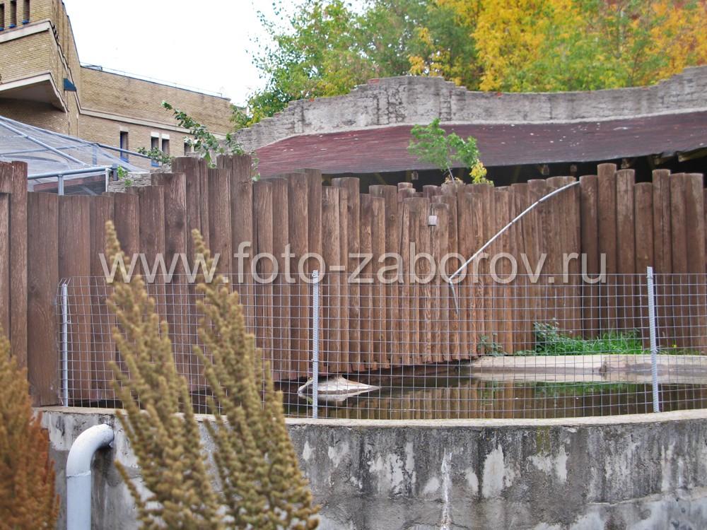 Забор из брёвен разделяет искусственный пруд на две равные части; пролёты установлены на