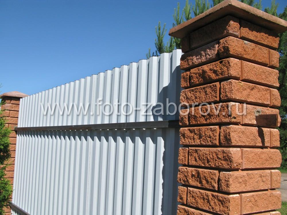 Фото Ограда из профлиста для частного домовладения и, одновременно, сельского магазина.