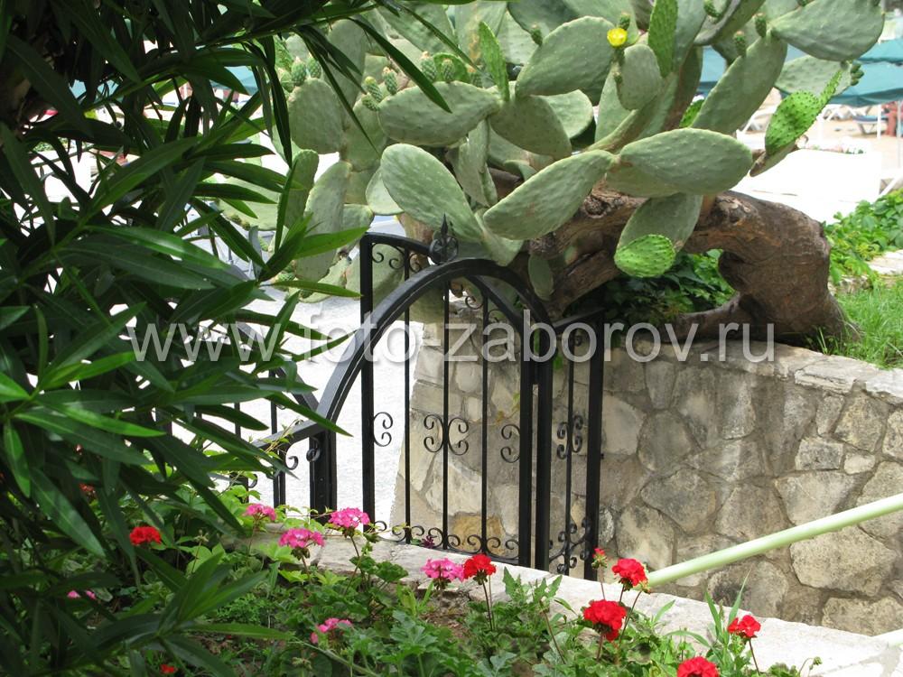Фото Металлическая калитка с элементами ковки гармонично вписывается в благоухающий тропический