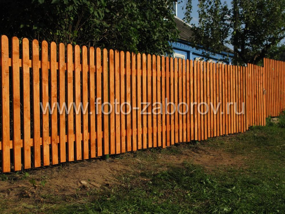 Забор на фоне деревенского дома, затерявшегося в листве садовых