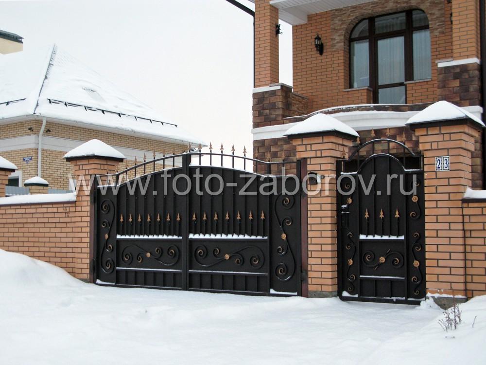 красивые ворота и заборы в частных домах фото