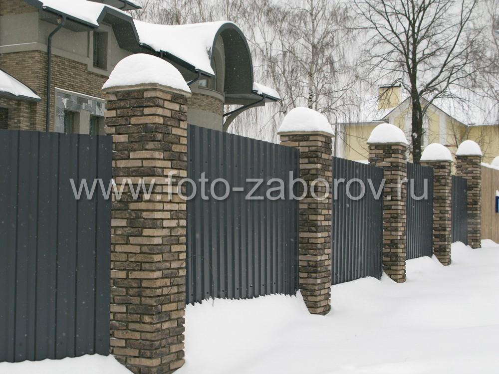 Пример того, как выглядит забор цвета серый