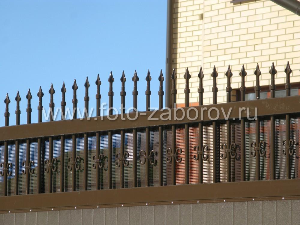 Ворота в верхней части декорированы частоколом из пик с полимерным