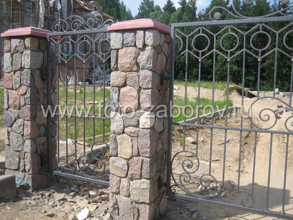 Столбы калитки ворот - облицовка искусственным