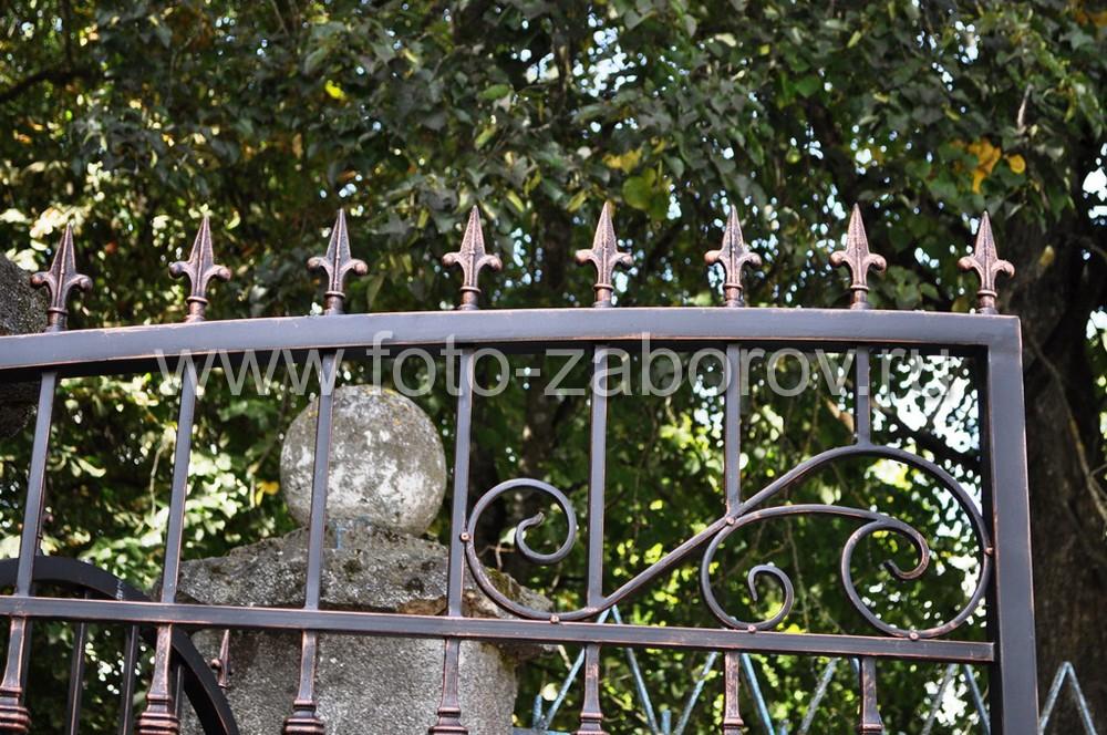 Фото Входная группа - распашные ворота и калитка украшены коваными элементами: декоративными