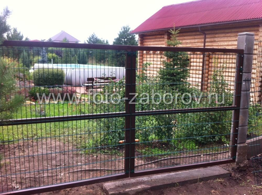 Фото металлических распашных ворот с открытием