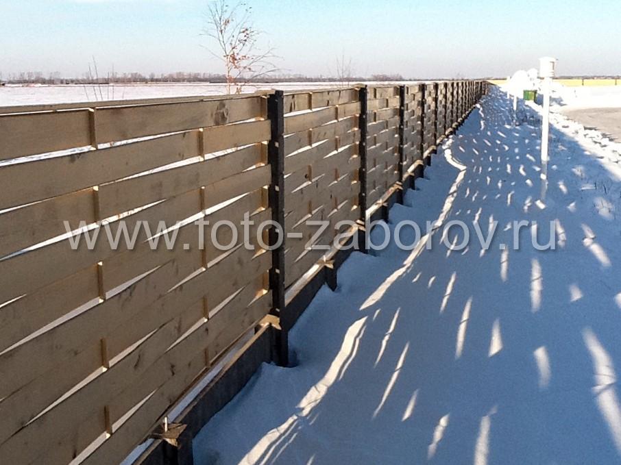 Фото Забор-плетёнка на бетонных столбах для ограждения жилого