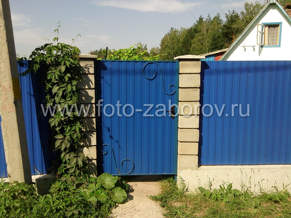 Фото Необычайно яркий забор сигнально-синего цвета (RAL 5005) с светло-серыми  столбами из