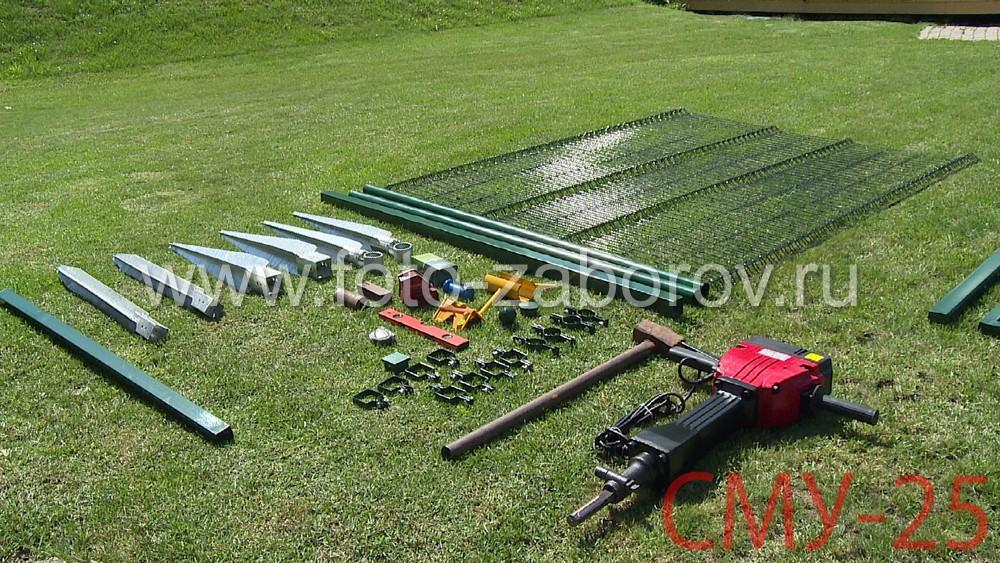 Комплект установочного оборудования и рабочего инструмента для монтажных работ на объекте: опоры