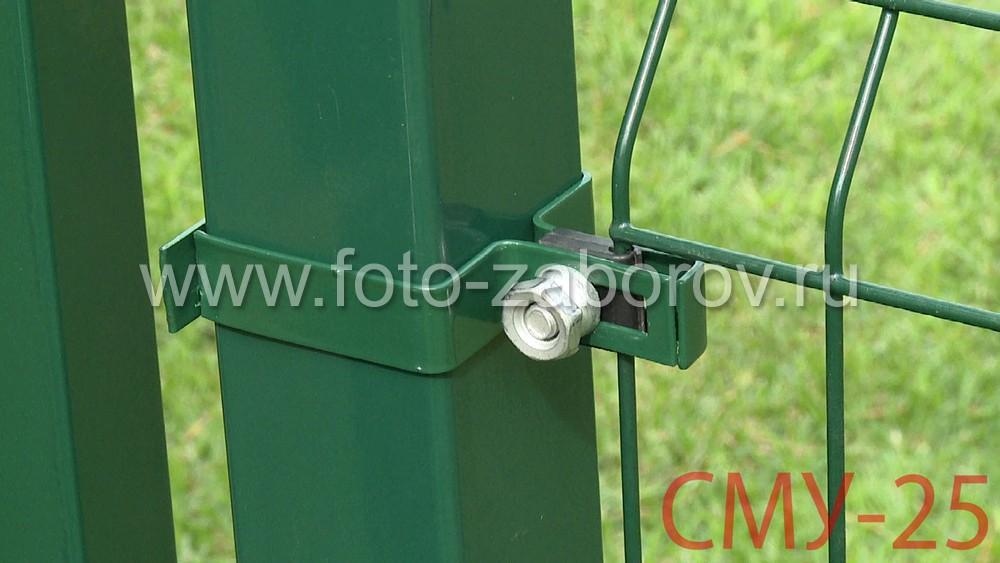 Горизонтальный паз в хомуте обеспечивает удобный адаптивный монтаж, а контргайка обеспечивает