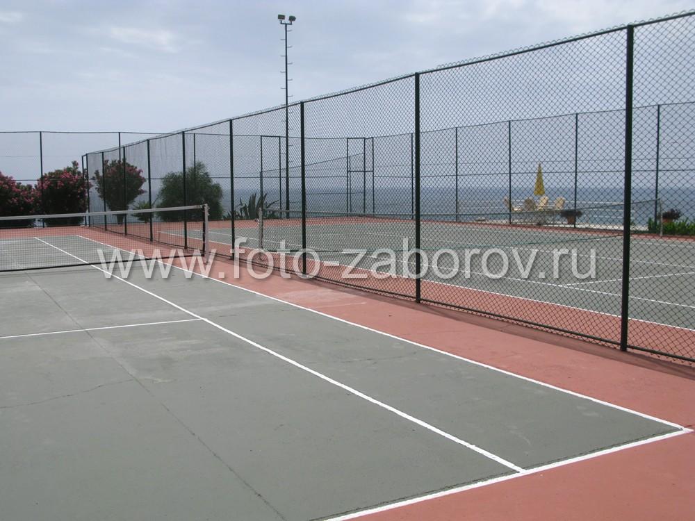 Качественное синтетическое покрытие теннисного корта обеспечивает надёжное сцепление спортивной