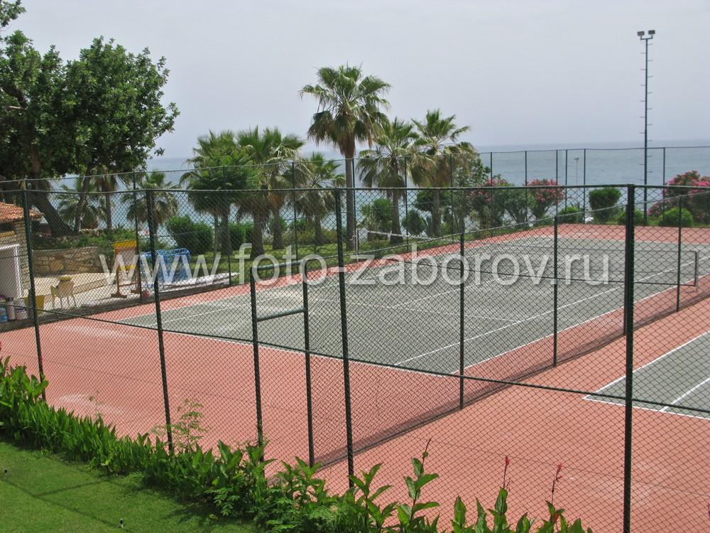 Теннисный корт с двумя полями в курортной