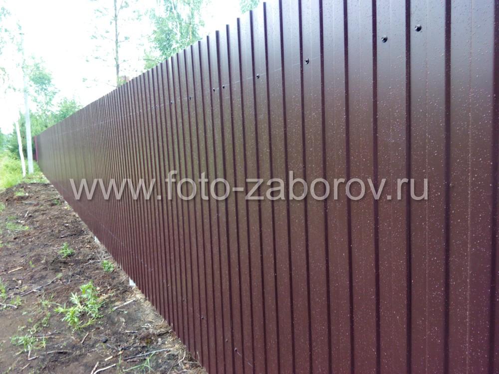 Фасадная сторона забора из профлиста коричнево-шоколадного цвета RAL8017. Профлист притянут к