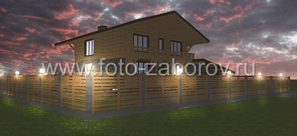 Три различных варианта подсветки фасада в различных цветовых оттенках и силы освещения. Вариант