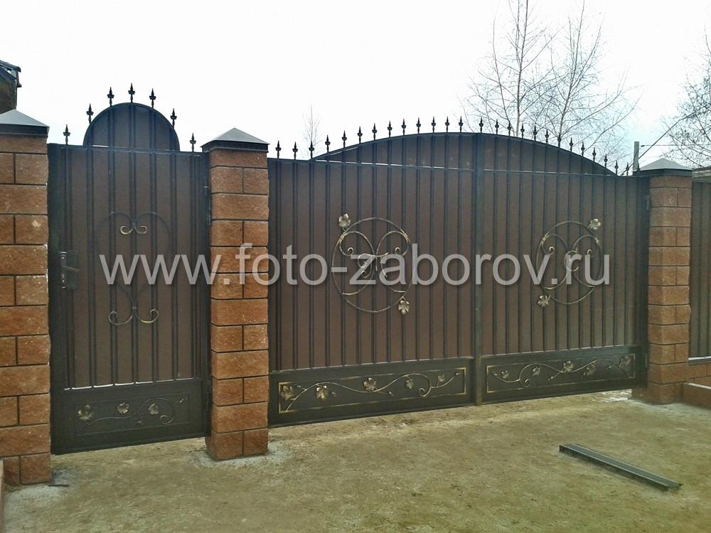 Индивидуальный дизайн въездной группы - распашных кованых ворот и
