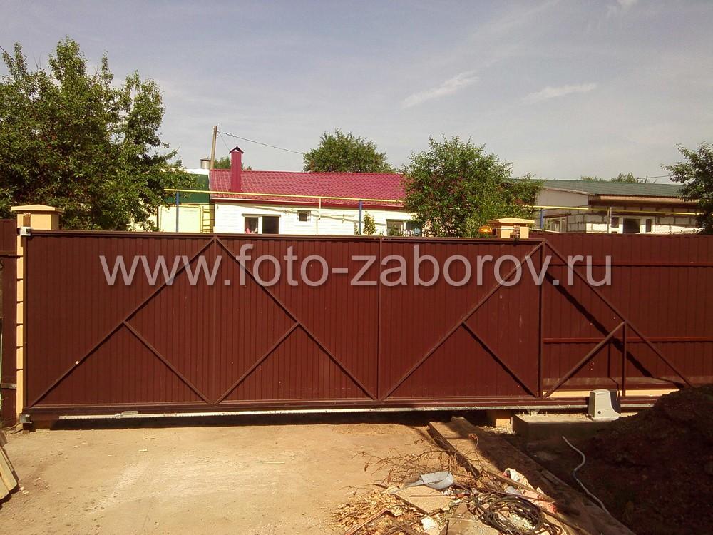 Фото откатных ворот со