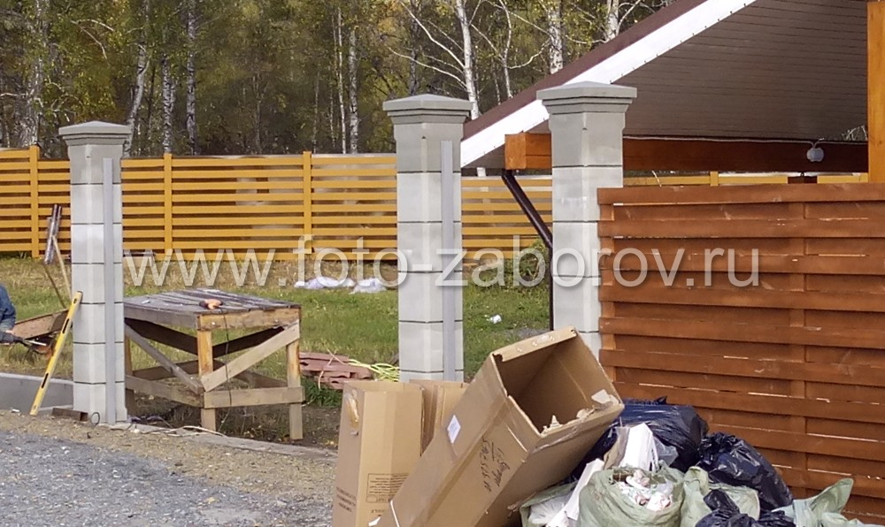 Воротные бетонные столбы из белого цемента - фото до