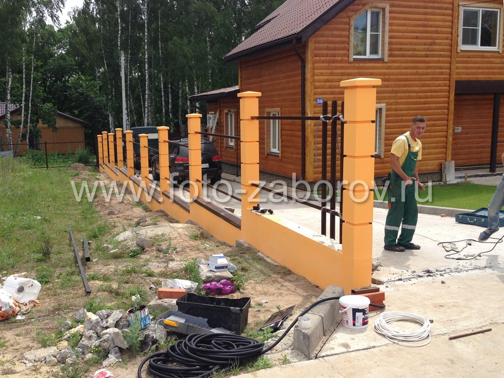 Фото Автоматические распашные ворота из евроштакетника для забора