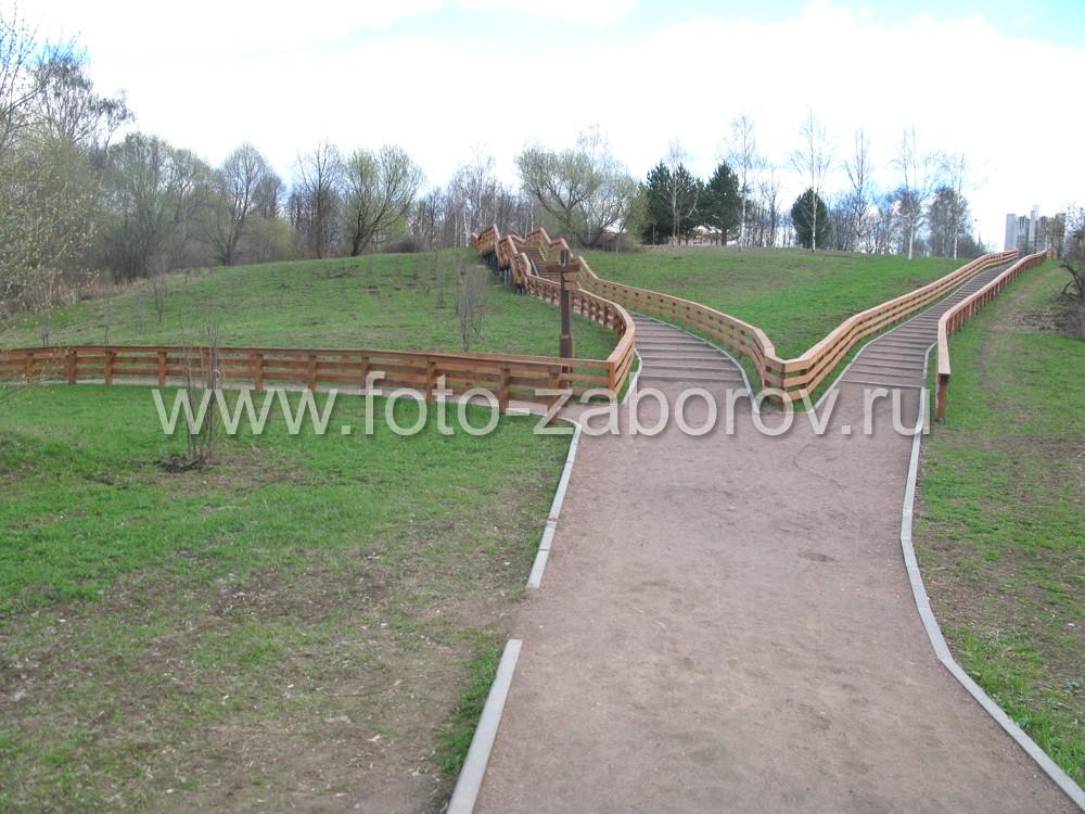 Фото Деревянные ограждения прогулочных дорожек и деревянные лестницы в парке 50-летия Октября г.