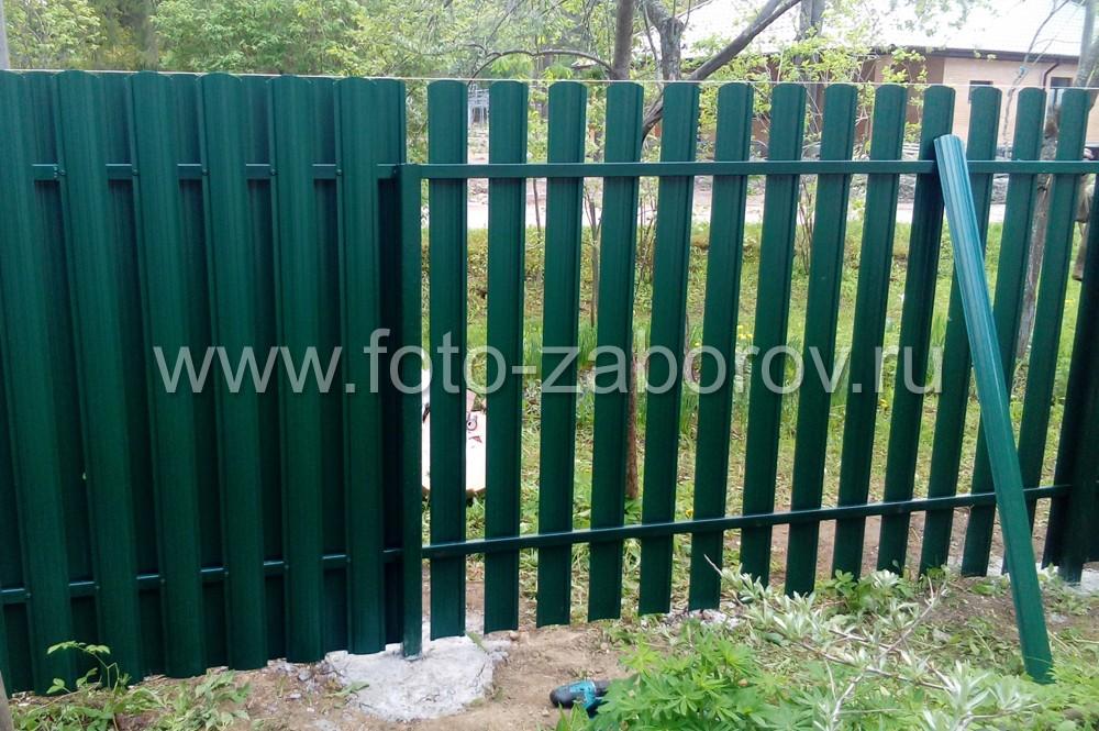 Фото Евроштакетник - изящный и долговечный забор для ограждения участка. Монтаж штакетника в