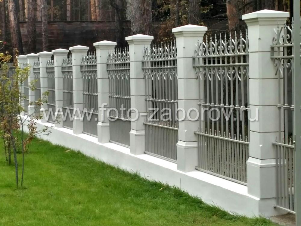 Фото Забор с красивыми столбами преобразил внешний вид